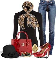 """Classic Red and Black"" by wannabchef on Polyvore"