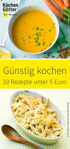 Günstig kochen: 33 Rezepte unter 5 Euro Shortly at checkout, but still in the mood for delicious food? These inexpensive recipes save you money, but not your enjoyment! All recipes cost a maximum of 5 euros. Budget Freezer Meals, Cooking On A Budget, Budget Recipes, Vegetarian Recipes Dinner, Healthy Dinner Recipes, Inexpensive Meals, Meals For Two, Pork Recipes, Family Meals