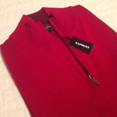 NWT Express Men's Red 1/4 Zip Sweater NWT Express Men's Red quarter zip sweater. Perfect for layering! Will discount if bundled with blue Express sweater. Express Sweaters