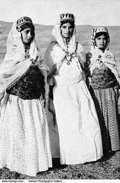 Kurdish teenage Girls in their traditional dress in Mahabad c.1941. Mahabad is famous for natural beauties and stylish hand made carpets.Mah...