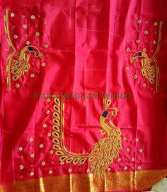 Mothi works's media statistics and analytics Peacock Blouse Designs, Peacock Embroidery Designs, Wedding Saree Blouse Designs, Simple Blouse Designs, Stylish Blouse Design, Dress Neck Designs, Magam Work Blouses, Hand Work Blouse Design, Maggam Work Designs