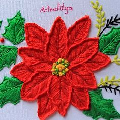 Christmas Embroidery: Christmas Eve - DIY and Crafts Hand Embroidery Patterns Flowers, Hand Embroidery Videos, Embroidery Stitches Tutorial, Embroidery Flowers Pattern, Embroidery Hoop Art, Hand Embroidery Designs, Crewel Embroidery, Embroidery Techniques, Embroidery Needles