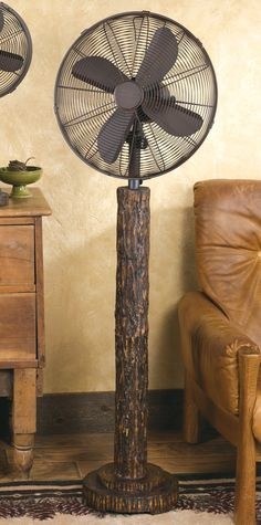 Rustic Tree Bark Floor Standing Fan
