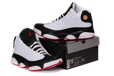 Features White/Black & True Red Michael Jordan Shoes Retro 13: Size 14 15 and 16