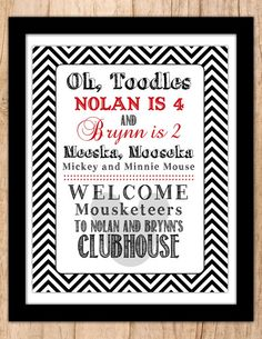 Mickey Mouse . Minnie Mouse . Personalized Birthday Party Welcome Sign . Red and Black or Pink and Black . Digital File . PDF or JPEG file