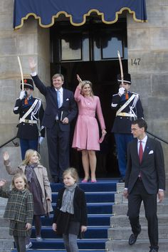 The new monarch, King Willem-Alexander and his wife Queen Maxima hosted a brunch in the Royal Palace in Amsterdam on Wednesday.  After two days of national celebrations the youngest king and queen in Europe brought their guests together for a final and informal gathering over brunch, for which Maxima chose a pink coat-dress with matching earrings, clutch and shoes.
