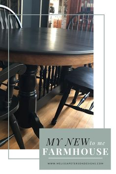 My new-to-me Farmhouse Table - White Farmhouse Table, Farmhouse Dining Room Table, Farmhouse Furniture, Farmhouse Bench, Farmhouse Style Decorating, Farmhouse Decor, Black And White Living Room, Narrow Living Room, Painted Bedroom Furniture