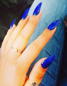 Blue stiletto nails!