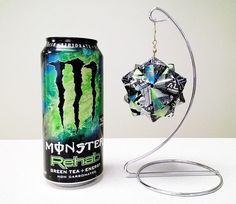 Monster Energy Drink Origami - Green Tea (Rehab) - Upcycled Recycled Repurposed - Ornament, Gift, Present, Decoration, Collectable, Unique