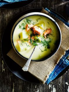 Finnish salmon and potato soup (Lohikeitto) - Flavoured with dill and allspice, this salmon and potato soup is a Finnish classic Seafood Recipes, Soup Recipes, Cooking Recipes, Healthy Recipes, Nordic Diet, Nordic Recipe, Finnish Recipes, Norwegian Food, Scandinavian Food