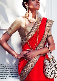 Red Fletcher Sari - Sabyasachi - Pernia's Pop up Shop
