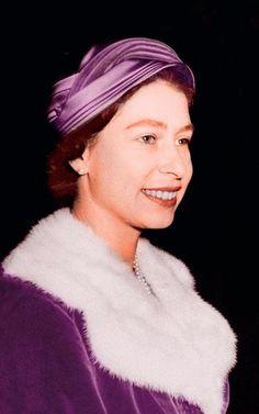 Queen Elizabeth II pictured in a purple velvet coat while leaving St Brides Church, Fleet Street.