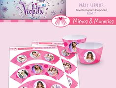 Violetta Bundle 1 - Cupcake Wrapper - Digital Collage Sheet - Birthday Party Digitals - Printable - INSTANT DOWNLOAD