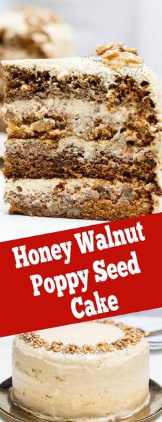 Honey walnut poppy seed cake, a dream of textures. A great addition for Easter, with moist and delicious sponge this is the cake you need. Layer Cake Recipes, Sheet Cake Recipes, Cake Mix Recipes, Cupcake Recipes, Baking Recipes, Dessert Recipes, Quick Easy Desserts, Homemade Desserts, Homemade Cakes
