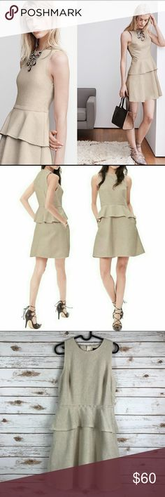 "Banana Republic Linen Blend peplum dress (binA3) Tan Banana Republic cotton linen blend peplum dress size 10 Measurements are approximate  Armpit to armpit 16.5"" Waist 15"" Length from armpit 26"" Gently used condition, comes from smoke & pet free home Banana Republic Dresses"