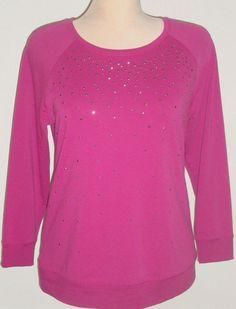 NEW size 14/16 Lane Bryant Active Sweatshirt Top Violet Purple w/ Sparkle Studs #LaneBryant #ActiveLightweightCrewSweatshirt #CasualandActiveWear