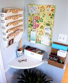 You can use any corner of your living space as organizing your day to day household necessities. You can make a small shelf and beautify it with your with colorful useable things you have in your hands for daily use.