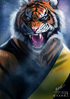 Richmond-'The Enraged Tiger From Tigerland' Print By Grange Wallis Richmond Afl, Richmond Football Club, Tiger Wallpaper, Wallpaper Iphone Cute, Football Team Logos, Sports Logos, Lion Art, Sports Wallpapers, Wallis