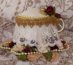 Victorian Tea-cup pincushion made by Bobbij from scrapbook.com