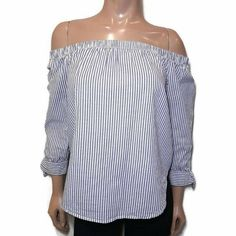 Bluenotes Striped Off Shoulder Top Womens XS Blue White 3/4 Tie Sleeve Shirt #Bluenotes #Basic #Casual Striped Off Shoulder Top, Off Shoulder Tops, Off Shoulder Blouse, Shirt Sleeves, Blue And White, Blouses, Tie, Casual, Shirts
