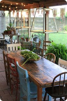 New Farmhouse Patio Table Light Fixtures Ideas Home And Garden, Farmhouse Dining, Home, Outdoor Living, Rustic Outdoor, Farmhouse Patio, Porch Table, Outdoor Dining, Farmhouse Table