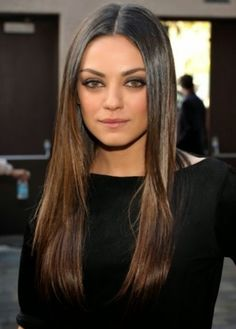 brunettes Mila Kunis medium ash brown