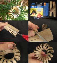 This Toilet Paper Roll Flowers in the picture below. This project is super easy, super cheap and fast to make. Toilet Roll Craft, Toilet Paper Roll Art, Toilet Paper Roll Crafts, Diy Paper, Cardboard Rolls, Cardboard Crafts, Holiday Crafts, Christmas Crafts, Christmas Ornament