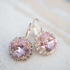 Braut Ohrringe Hochzeit Schmuck Vintage Rose rosa Vintage Ohrringe vergoldet Ohrringe echte Swarovski Strasssteine