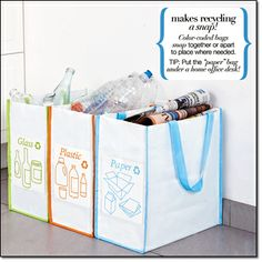 """new! Recycling Bags Bags snap together or can be used separately. Sturdy and water-resistant. Wipe clean. 14"""" H x 13 1/4"""" W x 21"""" L (together). Plastic. Imported. Item#: 184-036 Brochure: $19.99 the set of 3  http://vsalacup.avonrepresentative.com"""