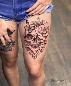 skull tattoos minimalist ~ Ink – skull tattoos for women _ skull tattoos for men _ small skull tattoos _ simple skull tattoos _ skull tattoos flowers _ sugar skull tattoos _ skull tattoos sleeve Floral Skull Tattoos, Skull Thigh Tattoos, Skull Tattoo Flowers, Sugar Skull Tattoos, Skull Tattoo Design, Feminine Skull Tattoos, Tattoo Designs, Flower Thigh Tattoos, Rose Tattoo On Thigh