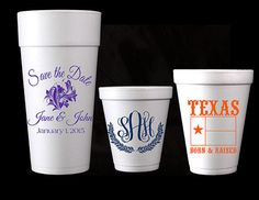 100 Personalized Custom Foam Cups Great for Weddings, Birthdays, Parties - Gifts for Friends & Family - Multiple Size Options Available