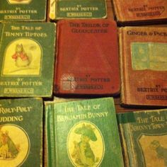 Vintage Beatrix Potter Wow, I grew up on these because my dad had some really old ones from when he was a kid! My early childhood, right there. Bookstores, Libraries, Children's Books, Books To Read, Beatrix Potter Illustrations, Peter Rabbit And Friends, Children's Library, Bunny Rabbits, Children's Literature