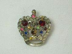 Vintage RHINESTONE CROWN PIN Brooch by LavenderGardenCottage etsy