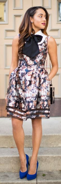 Multi Romantic Floral Fit And Flare Midi Dress