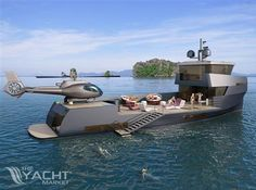 Naucrates Small but Mighty Support Yacht - Megayacht News Luxury Yachts, Boats For Sale, Exterior Design, Fighter Jets, Transportation, Aircraft, Yard, Ocean, Construction
