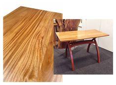 "DAVID KELLUM: Cross Buck Table  Top, African Mahogany (Khaya). Legs, Brazilian Cherry (Jatoba). Dimensions: 48"" x 26"" x 31"" tall (height can be adjusted)."