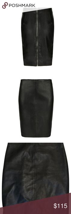 Allsaints Black Lucille Leather Pencil Skirt   6 AllSaints Lucille Leather Skirt $340 Sold out ALLSAINTS.COM Specially constructed from unwashed nappa lambskin leather, for a cleaner finish. Featuring seaming detail at the centre front, a zip at the centre back and leather panelling detail at either side. Fully lined. Featuring biker inspired seaming, zip pockets and a strap and buckle detail at the hem. Finished with a double zip detail in dull nickel. Slim, clean and straight, the lucille…