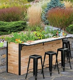 Reclaimed Wood Outdoor Bar + Tall Planter Patio Plant-a-Bar Tall Planters, Outdoor Planters, Outdoor Gardens, Garden Planters, Herb Garden, Long Planter, Galvanized Planters, Roof Gardens, Outdoor Patios