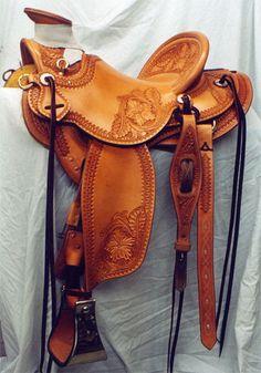 Frecker's Western Saddles-Floral/border wade. Made by Kent Frecker