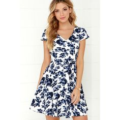 Art of Romancing Ivory and Navy Blue Floral Print Skater Dress ($39) ❤ liked on Polyvore