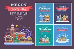 New Year and Christmas Cards by krugli on @creativemarket