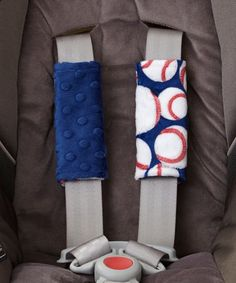 Lolly Gags Midnight Blue & Baseball Reversible Minky Strap Covers | zulily