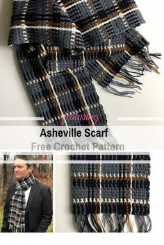 Simple And Beautiful Men's Plaid Scarf Crochet Pattern - Knit And Crochet Daily - Beautiful Men's Plaid Crochet Scarf Pattern – Simple & Classy - Crochet Mens Scarf, Plaid Crochet, Crochet Shawl, Knit Crochet, Men Crochet Scarf Pattern Free, Crochet Scarves For Men, Crochet Scarfs, Free Crochet, Beau Crochet