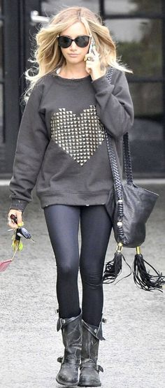 Who made Ashley Tisdale's black boots, handbag, and black studded heart sweatshirt?