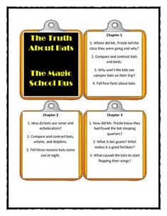 Magic School Bus- THE TRUTH ABOUT BATS - Discussion Cards National Board Certification, Middle Childhood, Magic School Bus, Nocturnal Animals, Printable Cards, Critical Thinking, Bats, Literacy, Students