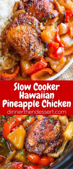 Slow Cooker Hawaiian Pineapple Chicken with crispy chicken thighs, fresh pineapple chunks, onions and bell pepper takes 15 minutes of prep and makes the perfect meal to come home to after a long workday! Crock Pot Slow Cooker, Crock Pot Cooking, Slow Cooker Recipes, Beef Recipes, Cooking Recipes, Healthy Recipes, Cooking Tips, Crockpot Dishes, Slow Cooking