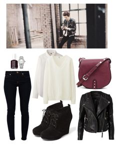 """""""EXO """"Miracle of December"""" MV Chanyeol Inspired Outfit"""" by smokingcrayonz ❤ liked on Polyvore featuring Gestuz, Uniqlo, 7 For All Mankind, Jessica Simpson, Lipsy, Essie and Sole Society"""