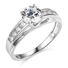 14K White or Yellow Solid Gold Engagement Rings for women (14K-White gold 10) Best Engagement Rings, Engagement Ring Sizes, Vintage Engagement Rings, Wedding Engagement, Solitaire Engagement, Engagement Jewelry, Wedding Attire, Wedding Dresses, Cubic Zirconia Engagement Rings