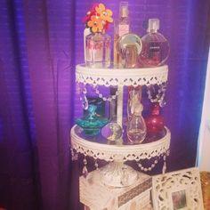 Perfume display made from vintage cupcake tower