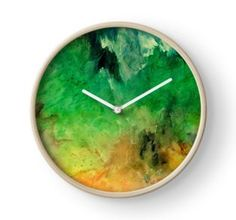 Wall Clock, print,artistic,decorative,items,modern,beautiful,awesome,cool,home,office,wall,decor,decoration,theme,picture,stylish,classy,gifts,presents,ideas,for sale,colorful,green,abstract,redbubble